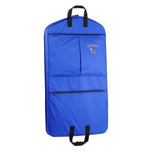 WallyBags Kansas Jayhawks 40 Inch Suit Length Garment Bag with Pockets, Royal Blue, One Size [Royal KU]