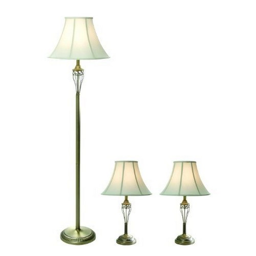 Elegant Designs ttAntique Brass Three Pack Lamp Set 2 Table Lamps, 1 Floor Lamp