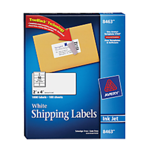 Avery TrueBlock Permanent Inkjet Shipping Labels, 2