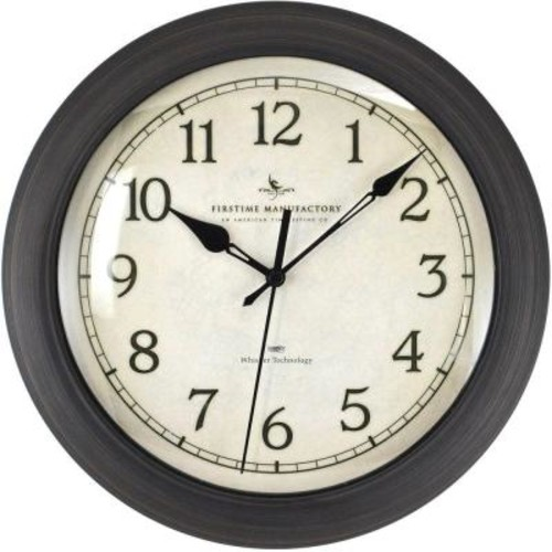 FirsTime 11 in. x 11 in. Round Bronze Whisper Technology Glass and Plastic Wall Clock