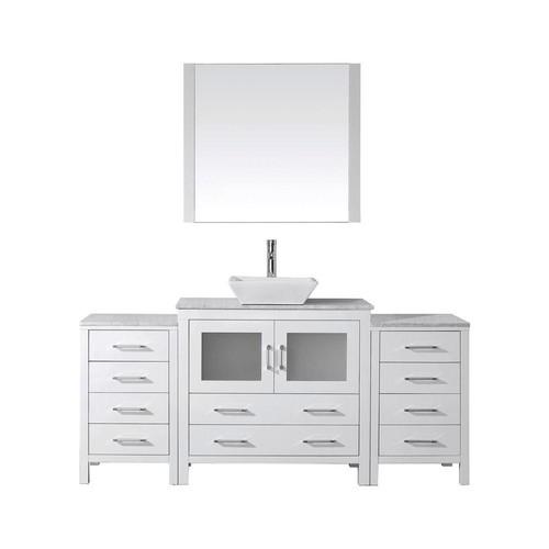 Virtu USA Dior 68 in. W x 18.3 in. D Vanity in White with Marble Vanity Top in White with White Basin and Mirror