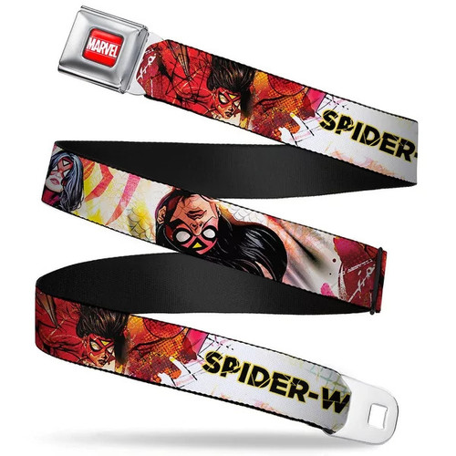 Marvel Universe Marvel Full Color Red White Spider Woman Spider Web Poses Seatbelt Belt