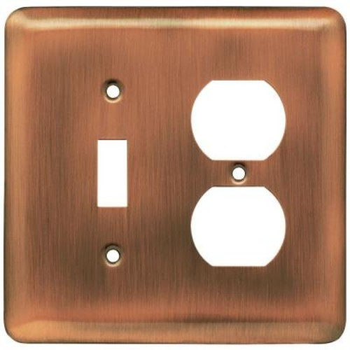 Liberty Stamped Round Decorative Switch and Duplex Outlet Cover, Antique Copper