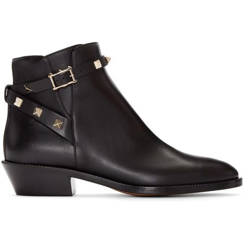 VALENTINO Black Rockstud Ankle Boots