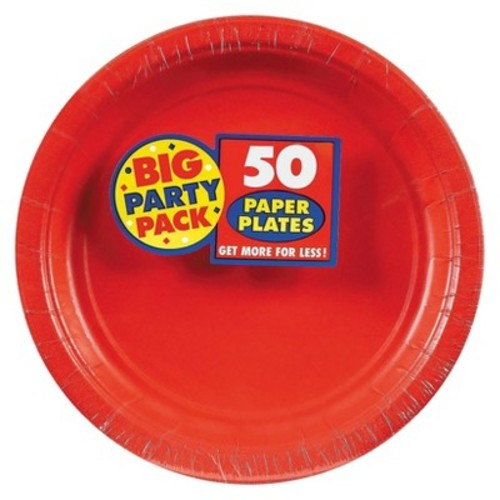 Big Party Pack Paper Dinner Plates 9-Inch, 50/Pkg, Apple Red [Apple Red]