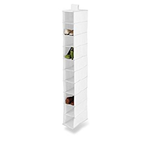 Honey-Can-Do SFT-01240 Hanging Shoe Organizer, White, 10-Shelf [White, White]
