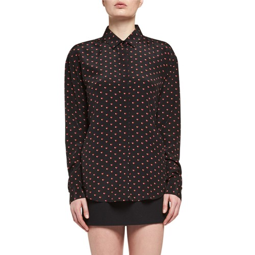 SAINT LAURENT Mini Hear-Print Silk Blouse, Black/Red
