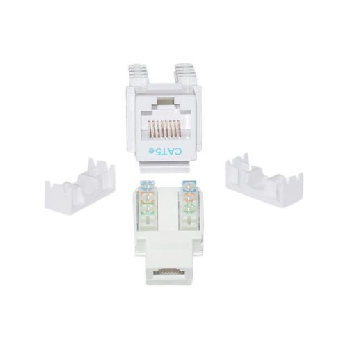 Cable Wholesale Cat 5e Keystone Jack, White, RJ45 Female to 110 Punch Down