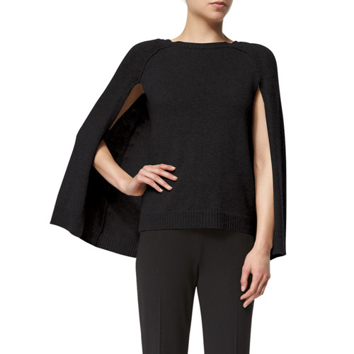 RALPH LAUREN COLLECTION Knit Cashmere Cape-Sleeve Sweater, Black