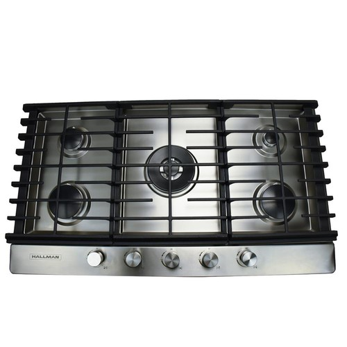 Hallman 36 in. Gas Cooktop in Stainless Steel with 5 Burners Including a Tri-Ring Power Burner