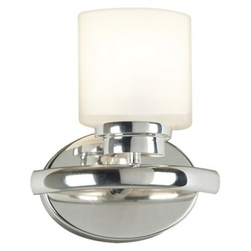 Kenroy 03390 Bow 1 Light Sconce- PNI, Polished Nickel Finish with White Glass