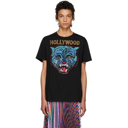 GUCCI Black 'Hollywood' Tiger T-Shirt