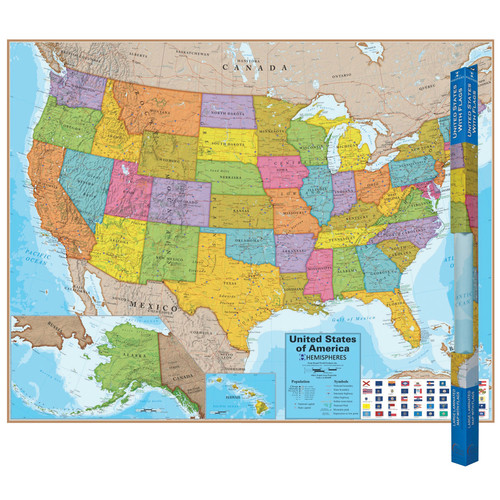 Round World Products Hemispheres Laminated Map, United States, Bundle Of 2