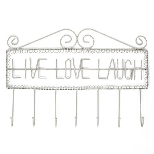 Ikee Design 'Live Love Laugh' Grey Metal Wall-mounted and Wall Hooks Hanging Organizer