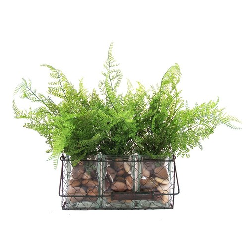 S/3 Leather Ferns in Planter, Green