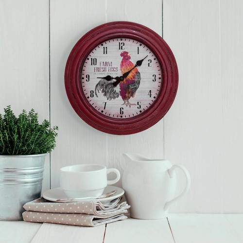 La Crosse Technology 12 in. Round Distressed Red Rooster Analog Wall Clock