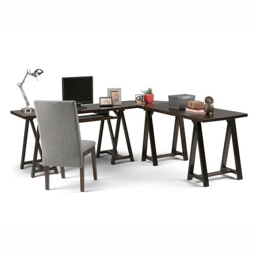 Simpli Home Sawhorse Dark Chestnut Brown Desk