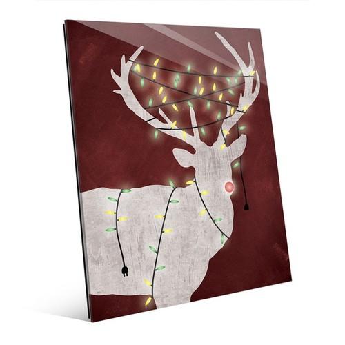 'Christmas Light Rudolph' Red Glass Wall Art