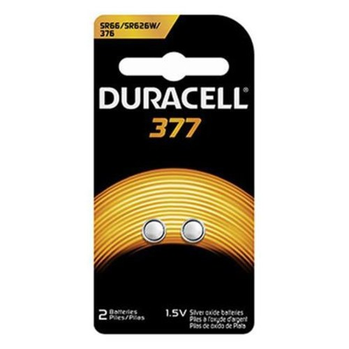 Duracell D377 Watch/Electronic Silver Oxide Battery, 1.5 Volt (2-pack)