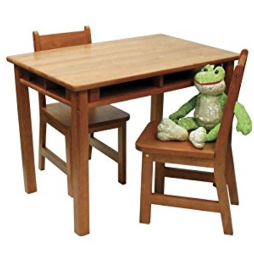 Lipper International 534P Child's Rectangular Table with Shelves and 2 Chairs, Pecan Finish [Pecan Finish]