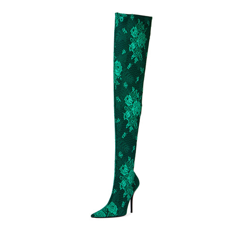 BALENCIAGA Floral Lace Over-The-Knee Boot, Vert
