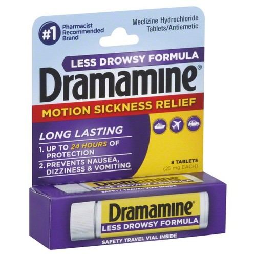 Dramamine Motion Sickness Relief, Less Drowsy Formula, 25 mg, Tablets, 8 tablets