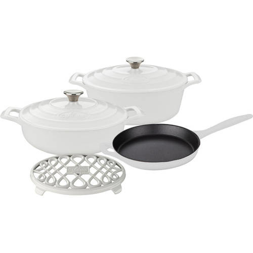 La Cuisine 6-Piece Enameled Cast Iron Cookware Set with Saute, Skillet and Oval Casserole with Trivet in White