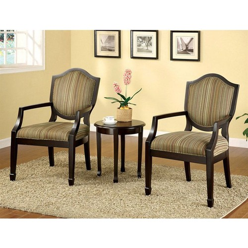 Import Direct Furniture 3 PC Classic Retro Style Bernetta Fabric Padded Seat Back Accent Chair Table Set
