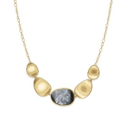 18K Yellow Gold Lunaria Black Mother-Of-Pearl Short Necklace, 16.5