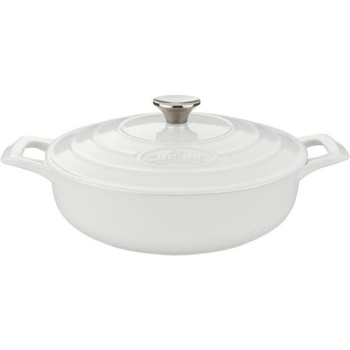 La Cuisine Pro Saute 3.75 Qt. Cast Iron Casserole with White Enamel