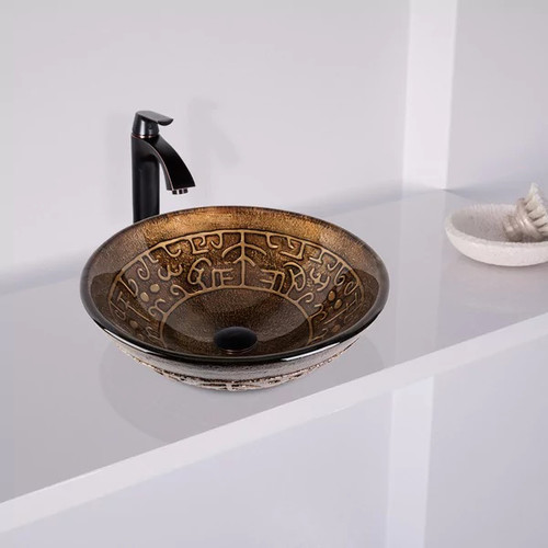 VIGO Golden Greek Glass Vessel Sink and Linus Faucet Set in Antique Rubbed Bronze Finish