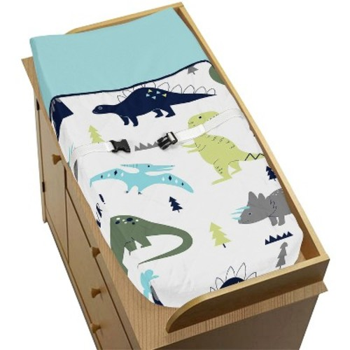 Sweet Jojo Designs Changing Pad Cover - Blue & Green Mod Dino