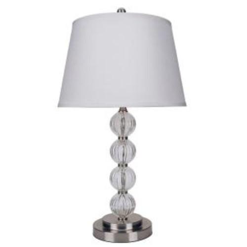 ORE International 28.5 in. Satin Nickel Glass Table Lamp