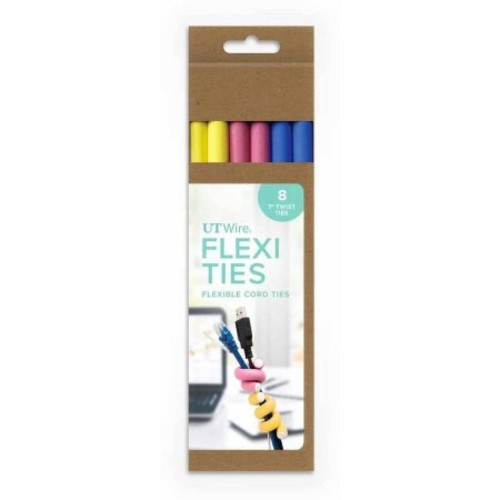Flexi Ties by UT-Wire Reusable Cable Ties/Wrap to Organize Cords,Yellow/Pink/Blue, 6-Piece Pack [Pastel Yellow/Pink/Blue, 7-Inch]