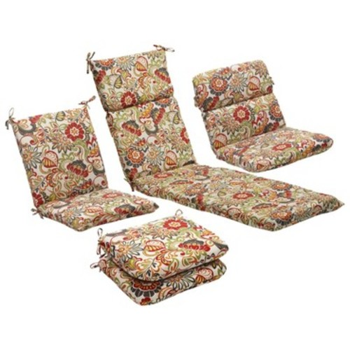 Outdoor 2-Piece Lumbar Toss Pillow Set - Green/Off-White/Red Floral 24\