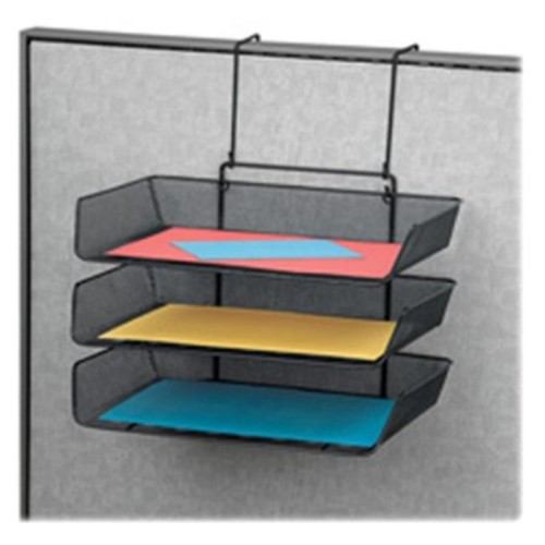 Fellowes Mfg. Co. FEL75902 File Tray- Side Load- 3-Tier- Partition-Wall Mount- Black