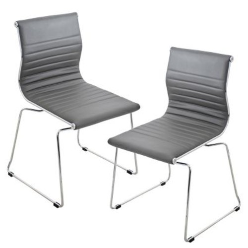 Lumisource Master Stackable Dining Chair in Grey & Chrome, Set of 2 (CH-MSTR GY K2)