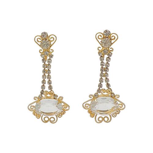 Filigree Rhinestone Chandelier Earrings