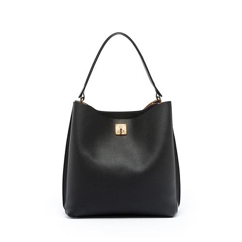 MCM Milla Large Leather Hobo Bag, Black