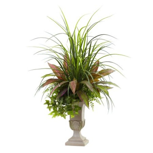 Nearly Natural Mixed Grass, Dracena, Sage Ivy & Fern with Planter, 3'