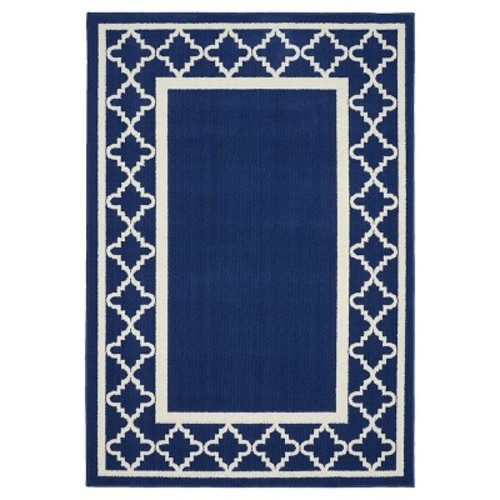 Garland Rug Moroccan Frame Indigo/Ivory 5 ft. x 7 ft. Area Rug