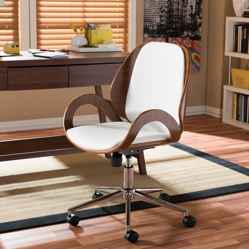 Baxton Studio Watson White Faux Leather Upholstered Office Chair