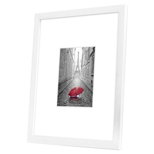 11x14 White Picture Frame - Matted to Fit Pictures 5x7 Inches or 11x14 Without Mat - White Mat - Glass Front - Ready-to-Hang