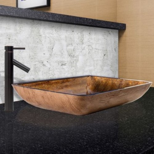VIGO Glass Vessel Sink in Amber Sunset and Dior Faucet Set in Antique Rubbed Bronze