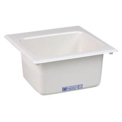 MUSTEE 15 in. x 15 in. Fiberglass Self-Rimming Bar Sink in White