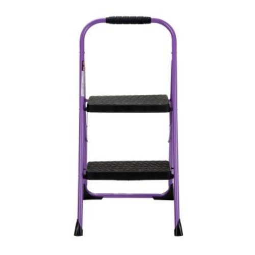 Cosco 2-Step Steel Big Step Folding Step Stool with Type 3 Rubber Hand Grip in Purple