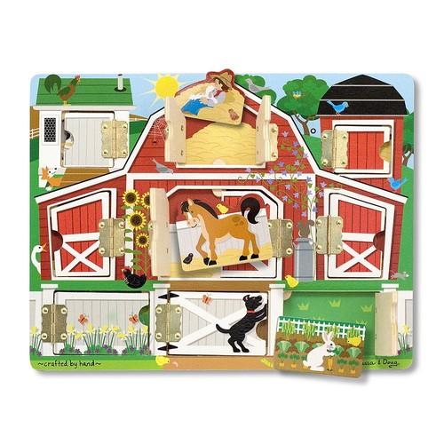 Melissa & Doug Hide and Seek Farm Wooden Activity Board With Barnyard Animal Magnets [Hide and Seek]