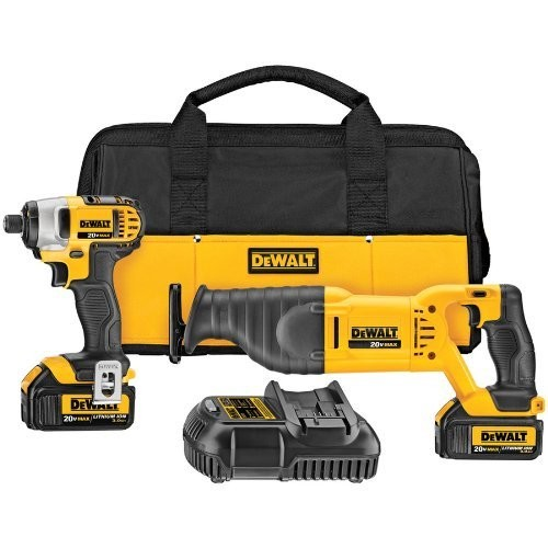 DEWALT 20-Volt Max Lithium Ion Impact Driver and Reciprocating Saw Cordless Combo Kit