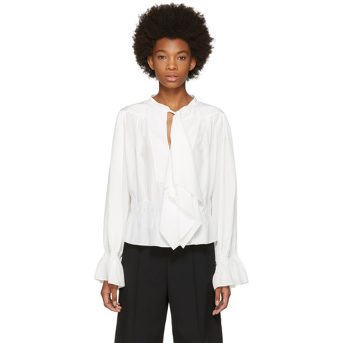 CHLOÉ White Ruffle Bow Blouse