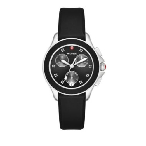 Michele - Cape Chronograph Crystal, Stainless Steel & Silicone Strap Watch/Black